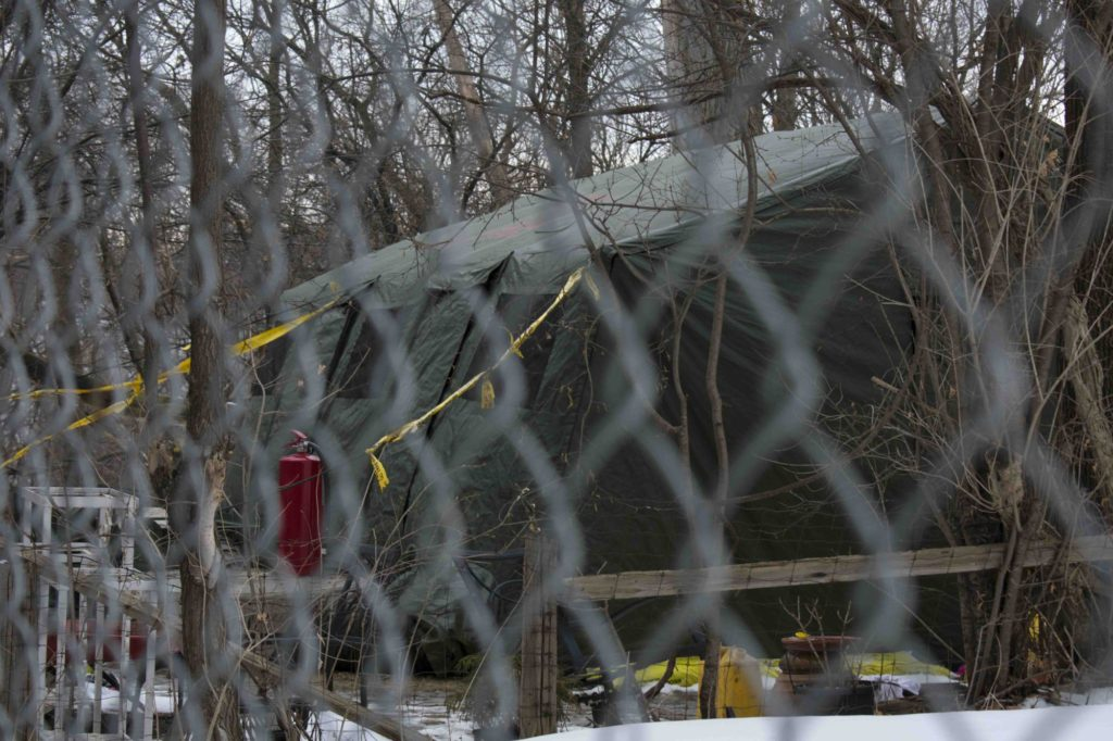 TORONTO, ON; 02/01/18 -After finding body parts in potters at 53 Mallory Cres., a tent with heaters inside is warming the ground to begin excavation. The smell of propane fills the backyard and neighbouring Crestview Apartments. Police believe the human remains are connected to alleged serial killer Bruce McArthur.